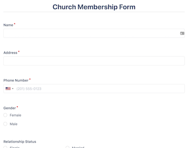 Church Membership Form