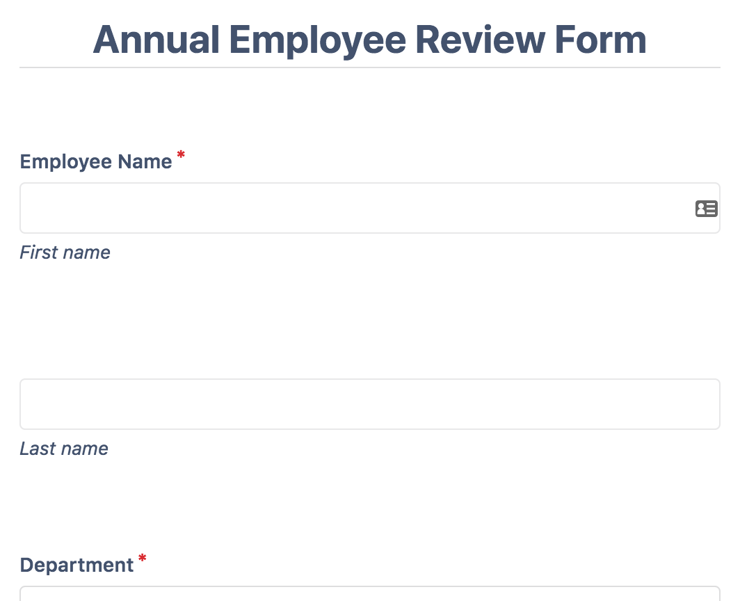 Annual Employee Review Form