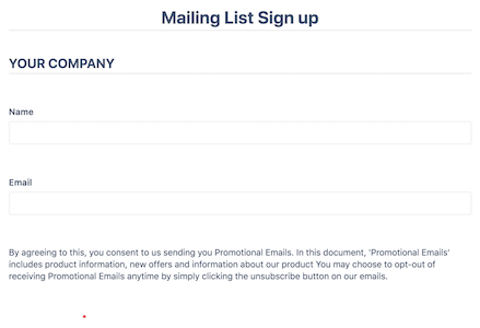 Mailing List Newsletter Signup