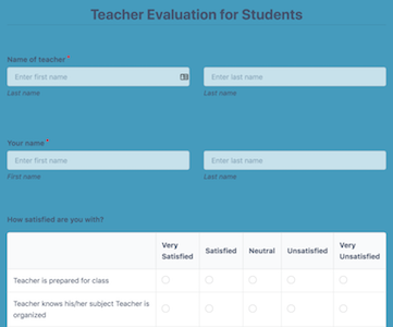 Teacher Evaluation Survey