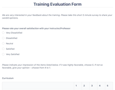 Training Evaluation Form